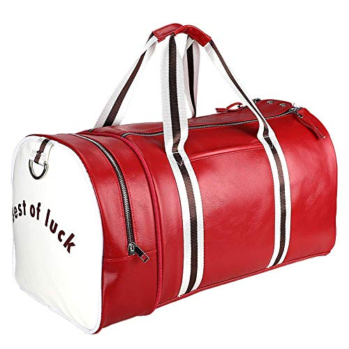 CHSZZP Sports Gym Duffel Bag with Shoe Compartment, PU Leather Water Resistant Sports Gym Travel Weekender Luggage Garment Bag with Shoulder Strap for Men and Women (Red)
