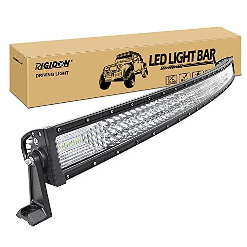 RIGIDON Curvada Barra de luz led, 12V 24V 52 pulgadas 675W, 7D Tri fila Barras luminosas led para off road camión coche ATV SUV 4x4 barco, Foco Inundación Combo, lámpara de conducción 6000K