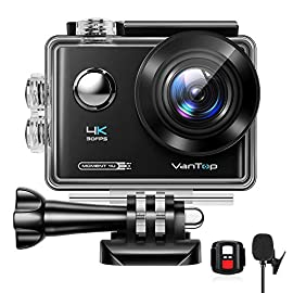 VanTop Moment 4U 4K Action Camera 20MP Underwater Waterproof Camera with EIS, External Microphone, Touch Screen, Slow… 12 Fabulous 4K Action Camera: Featuring professional 4K/30FPS video and 20MP photo resolution, VanTop Moment 4U action camera captures crystal clear and sharp footages for your adventures. The IPS touch screen and humanized operating interface make it easier to set up the camera. Just enjoy the moment for you Hyper-Stable EIS Technology: Built-in advanced Electronic Image Stabilization (EIS) helps to counteract any bump, shake or camera tilt and delivers shake-free, extremely stable and stunning videos. VanTop Moment 4U action camera is built for movements and adventures Waterproof Up to 100FT: You can explore the mysterious submarine world with this underwater camera with its included high quality waterproof case on. It is ideal for water sports such as snorkeling, diving, swimming, surfing, etc. Snap the moments you can't get with your phone with this VanTop Moment 4U