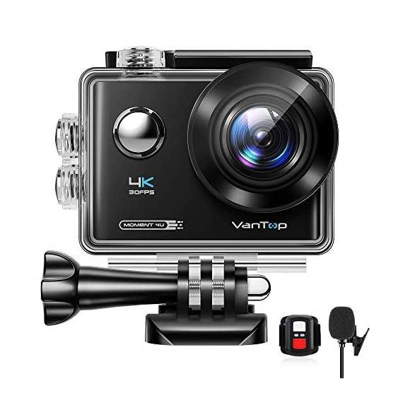 VanTop Moment 4U 4K Action Camera 20MP Underwater Waterproof Camera with EIS, External Microphone, Touch Screen, Slow… 1 Fabulous 4K Action Camera: Featuring professional 4K/30FPS video and 20MP photo resolution, VanTop Moment 4U action camera captures crystal clear and sharp footages for your adventures. The IPS touch screen and humanized operating interface make it easier to set up the camera. Just enjoy the moment for you Hyper-Stable EIS Technology: Built-in advanced Electronic Image Stabilization (EIS) helps to counteract any bump, shake or camera tilt and delivers shake-free, extremely stable and stunning videos. VanTop Moment 4U action camera is built for movements and adventures Waterproof Up to 100FT: You can explore the mysterious submarine world with this underwater camera with its included high quality waterproof case on. It is ideal for water sports such as snorkeling, diving, swimming, surfing, etc. Snap the moments you can't get with your phone with this VanTop Moment 4U