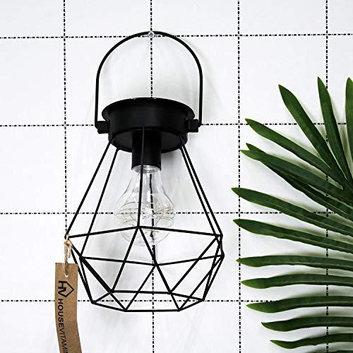 Housevitamin solar LED buitenlamp/lantaarn - zwart metaal - 18cm hoog