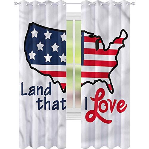 jinguizi Cortina opaca para ventana de Estados Unidos, mapa de la tierra que me encanta, 42 x 84, para decoración de niños, cortinas personalizadas