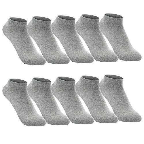 FALARY Sneaker Socken Herren Damen 43-46 Grau Sneakersocken Kurze 10 Paar Baumwolle Atmungsaktive Halbsocken Unisex