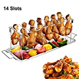 G.a HOMEFAVOR Chicken Wing Leg Rack for Grill Smoker or Oven - 14 Slots Stainless Steel Vertical Roaster Stand & Drip Pan for Cooking Vegetables in BBQ Juices - Dishwasher Safe Barbecue Accessories