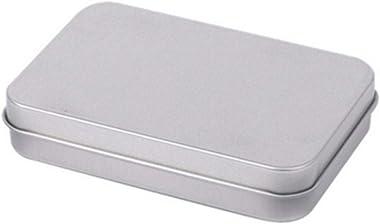 Paramise Mini Tin Box Small Storage Box Metal Storage Box Tin Silver Storage Box Case Organizer for Money Coin Candy Key,Flat