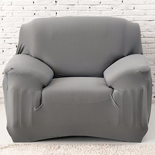 Chlove Sofabezug Elastische Sofa Abdeckung Sofa¨¹berwurf Sesselhusse Stretchhusse (1 Sitzer, 90-140cm, Grau)