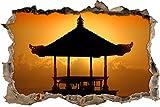 pixxp Blueprint 3D WD s2393_ 62x 42Impresionante Pagoda en Bali perforar Pared Adhesivo Pared en 3D, Vinilo, Multicolor, 62x 42x 0,02cm