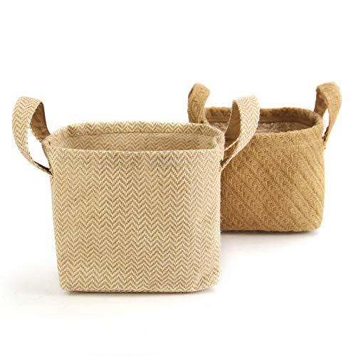 Cestas de almacenamiento de algodón yute - Paquete de 2 | Organizadores de algodón y yute con asas de transporte | Lino de algodón | M&W