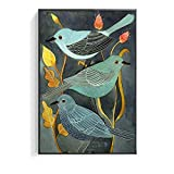 N / A Nightingale and Plant Digital Painting Bird Poster Canvas Print Wall Art Living Room Home Decoration Frameless 30X40cm