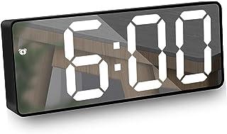 Réveil Miroir, Réveil Numérique avec Affichage à LED de Date/Température,Lumière de Nuit, Luminosité Réglable Réveil Snooz...