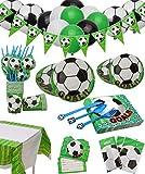 Fußball Party Set für 12 Gäste 168 Teiliges mit Tellern, Tassen, Servietten, Löffeln, Messern, Gabeln, Einladungskarten, Tischtüchern, Bannern, Geschenktüten und Luftballons für Kindergeburtstag