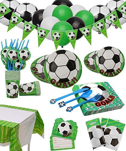 Fußball Party Set für 12 Gäste 168 Teiliges mit Tellern, Tassen, Servietten, Löffeln, Messern,...