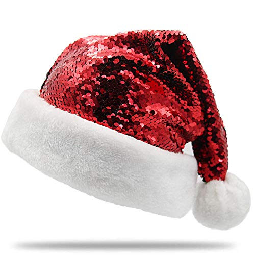 PLUSHIBLE Christmas Santa Hat - Color Changing Holiday Hat - Sequin Red/Green