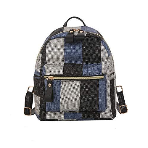 Gofodn Mini-Mädchen-Rucksack, Damen, klein, einfach, Leinen, Karomuster, Reisetasche, Rot - blau - Größe: XL