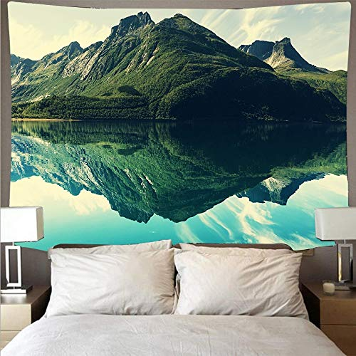 KHKJ Montaña Ondulada Bosque Lago Paisaje Tapiz Barato Arte psicodélico Colgante de Pared Toalla de Playa Mandala Manta Fina A2 150x130cm