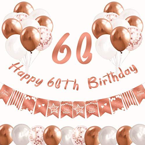 Yiran Oro Rosa Fiesta Decoración para mujer niña cumpleaños Fiesta, 32 piezas accesorios de decoración Fiesta Globos Banner de cola de golondrina guirnalda de feliz cumpleaños número 60