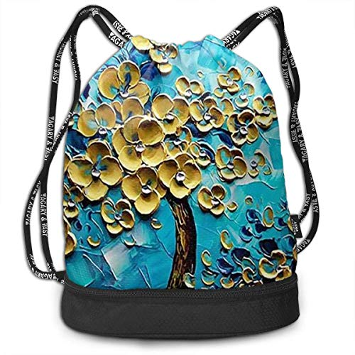 Flower Blue Leaves Style Print Drawstring Bag Backpack Sport Travel Gym School Hiking Yoga Beach Cinch Bags Bundle Backpack for Women/Men