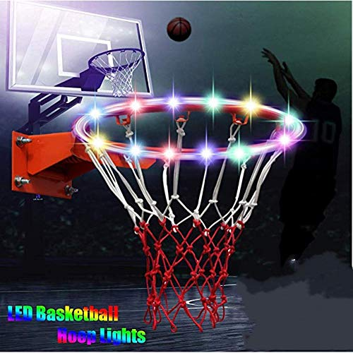 Sweetlibra Solar Led Basketballkorb Licht Wasserdichte Basketball Rahmen Licht Led Basketball Felge Wasserdichte Leuchtende Licht Solar Farbwechsel Leuchtend - Leuchten Basketballkorb,Stetiger 7-Modus