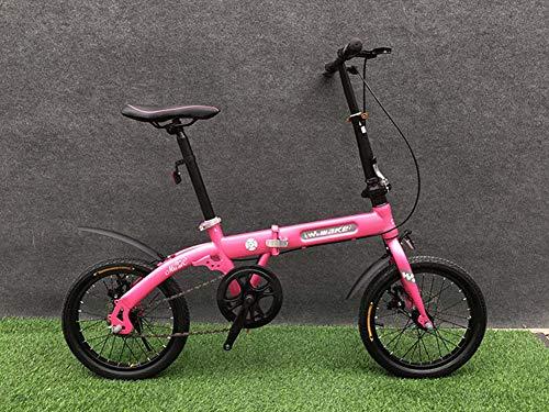 Grimk 16 Zoll Klapprad Faltrad Aluminium Damen Leicht Falträder Klappräder Männer Faltbar Fahrrad Erwachsene Mit Kinder Citybike Herren Klappfahrrad Urban Bike,Pink