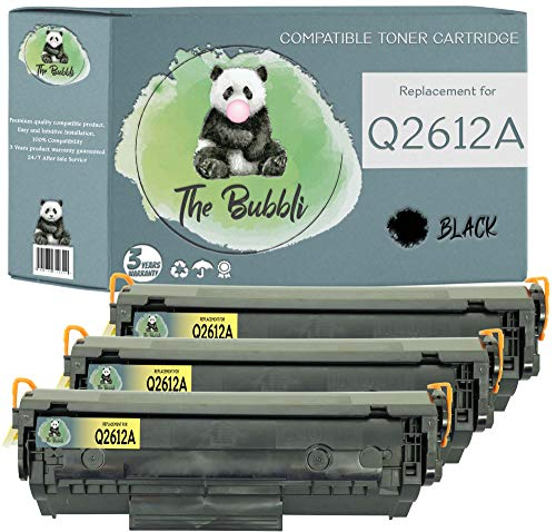 The Bubbli Original | Q2612A 12A Tóner Compatible para HP Laserjet 1010 1012 1015 1018 1020 1022 1022n 1022nw 3010 3015 3020 3030 3050 M1005 M1319f MFP (3 Negro)