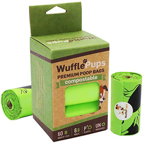 WUFFLEPUPS Compostable Dog Poop Bags – Plant Based Pet Waste Bags are 25.5 Microns Thick and Strong – Unscented, Tear Resistant and Disposable for Cat Litter and Backyard Pickup (60 Bags) (60 Bags)
