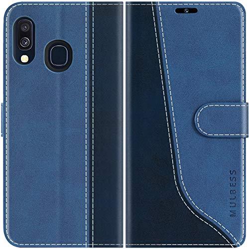 Mulbess Handyhülle für Samsung Galaxy A40 Hülle, Handy Samsung A40 Hülle, Leder Flip Etui Handytasche Schutzhülle für Samsung Galaxy A40 Hülle, Diamant Blau