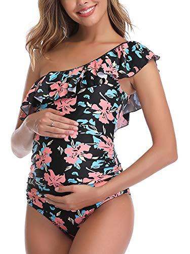 MiYang Women Maternity Swimwear One Shoulder Flounce One Piece Printing Bathing Suit Black Red Large