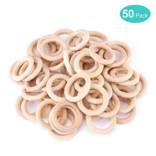 50 Paket Holz Ringe natürliche Holzringe ohne Farbe glatt unvollendete Holz Kreise für Handwerk Beißring Anhänger Anschlüsse Schmuckherstellung (50 mm)