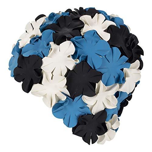 Fashy - Badehaube, Gummibadehaube mit Blüten in Schwarz, Weiß und Blau