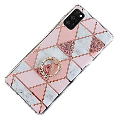 Herbests Kompatibel mit Samsung Galaxy A41 Hülle Bunt Marmor Muster TPU Silikon Handyhülle Glänzend Bling Glitzer Diamant Strass Ring Halter Ständer Crystal Case Tasche Schutzhülle,Rosa