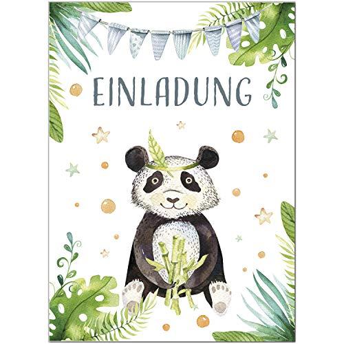 16 Einladungskarten zum Kindergeburtstag Motiv: Panda-Bär niedlich Aquarell Look - Einladungen für Kinder zum Geburtstag im Set