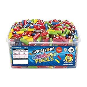 sweetzone 100% halal mini assorted liquorice pencils with fondant filling - 600 pieces (mix of strawberry, blue raspberry, mixed fruit and apple) SweetZone 100% Halal Mini Assorted Liquorice Pencils with Fondant Filling – 600 Pieces (Mix of Strawberry, Blue… 51F3TSM78ML