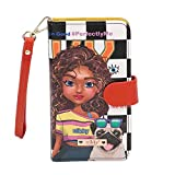 Nikky Satine Universal Phone Printcase - Leather Card Wallet Wristlet for iphone and Smartphones. Card Pockets Holder Purse with Hand Strap.(Sasha the Cutie)