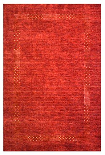 Morgenland Loribaft Gabbeh NOVA Teppich Schurwolle Rot Einfarbig Bordüre Handgewebt 300 x 80 cm Läufer