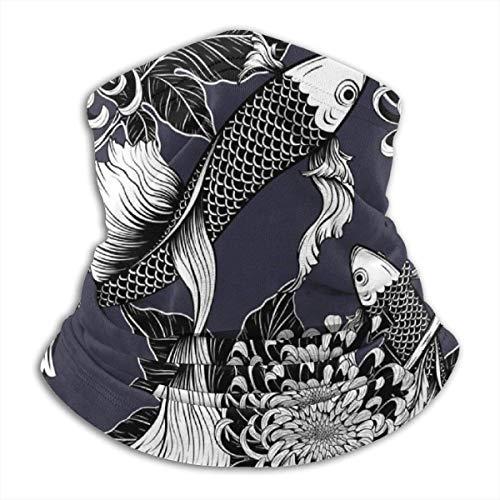 De Li Sheng Schlauchschal Herren,Halswärmer Warm Koi Fish Chrysanthemum by Hand Japanese Vintage Unisex Fleece Neck Warmer Face Warmer Neck Tube Neck Scarf Neck Gaiters