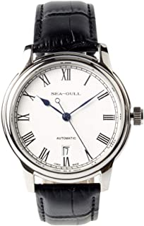 Seagull Roman Numerals Blue Hands Exhibition Back Black Leather Strap Automatic Men's Watch self Winding Seagull d819.459