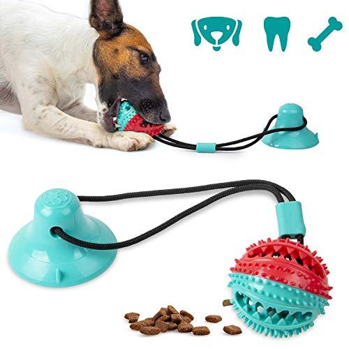 Shinmax Juguetes para Perro con campana,Multifunction Pet Molar Bite Toy,Dispensador de Golosinas para Perros con ventosas,Función de Cuidado Dental para Perros,Adecuado para perros pequeños y grandes