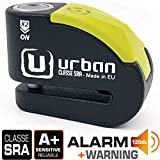 Urban Security UR10 candado antirrobo Disco con Alarma 120dba + Warning, Alta Seguridad...