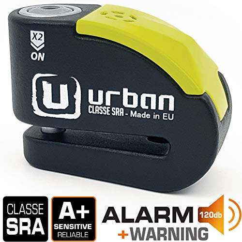 Urban Security UR10 Candado Antirrobo Moto Disco Alarma 120db, Avisado
