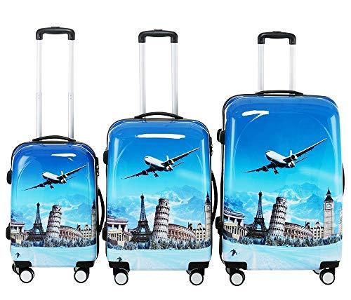 BEIBYE Polycarbonat Hartschale Koffer 2060 Trolley Reisekoffer Reisekofferset Beutycase 3er oder 4er Set (Flug)