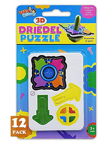 Izzy 'n' Dizzy 3D Dreidel Puzzle - 12 Pack - Build it Yourself - Assemble and Spin - Hanukkah Toys, Games and Gifts
