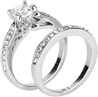 Haluoo S925 Sterling Silver Heart Ring,Infinity Diamond Love Heart Engagement Ring Cubic Zirconia Cz Eternity Wedding Band Finger Rings Anniversary Rings for Women Size 6-10