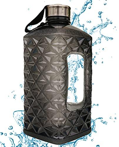 Toyshine 2.2L Diamond Shaped Large Capacity BPA Free Leakproof Half Gallon Sport Water Bottle for Gym Fitness Athletic,Black SSTP
