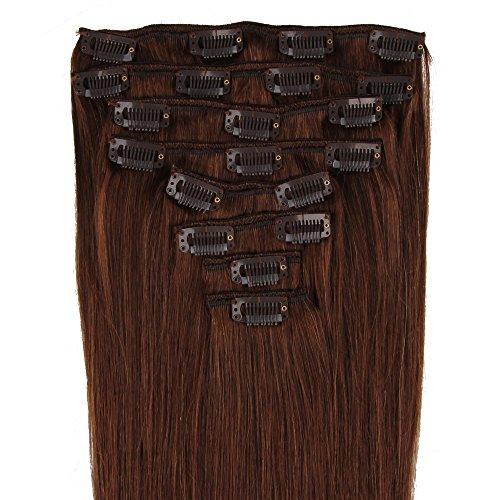 Beauty7 120g Extensions de cheveux humains à clip 100% Remy Hair 4# Couleur Chocolat Marron Longueur 46 cm