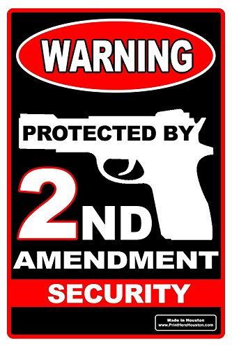 12' x 18' Warning Protected by 2nd Amendment Security Yard Sign with 15' Metal Stand for Lawn Grass