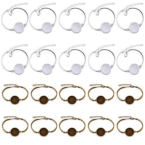 20Pcs Bracelet Bezel Tray Blank Cuff, Adjustable Bracelet with Blank Bezel Tray for DIY Crafts Cabochons Bracelet Jewelry Making Round Blank Cabochon Bracelet Base Trays, Silver & Bronze