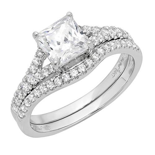 Clara Pucci 2.21 Ct Princess Cut Pave Halo Bridal Engagement Wedding Anniversary Ring Band Set 14K White Gold, Size 6.75