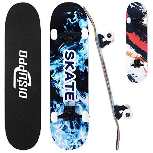 DISUPPO Pro Skateboards, komplettes Skateboard, 7-lagiges A-Level Maple Double Kick Concave Standard und Tricks Skateboards, 80 x 20 cm (Blaue Flamme)