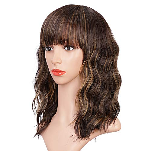ENTRANCED STYLES Dark Brown Wigs with Bangs Wavy Bob Wig Brown Highlighted Wigs for Women Daily Party Cosplay Use