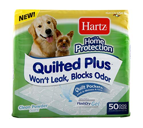 Hartz Home Protection Quilted Plus Dog Pads, Super Absorbent & Won't Leak, Clean Powder Scent, Regular, 50 Count